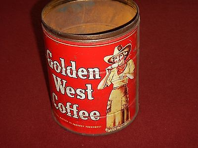 Vintage Cow Girl Golden West Coffee ywo pound Tin Can - No Lid