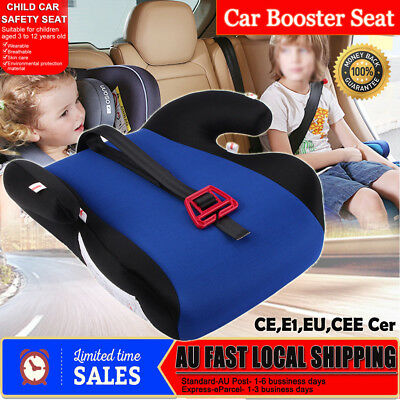 AU Safe Sturdy Baby Child Kid Children Car Booster Seat Blue Fits 3 To 12 Years