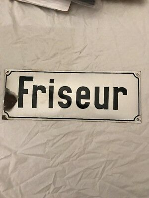 Antique French Hairstylist Enamel Sign