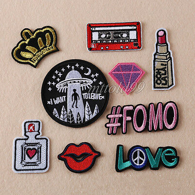 9Pcs Embroidery Love # FOMO Sew Iron On Patch Badge Bag Clothes Fabric Applique
