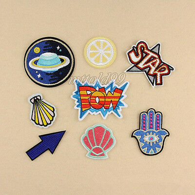 8Pcs Embroidery Outer Space Sew Iron On Patch Badge Bag Clothes Fabric Applique