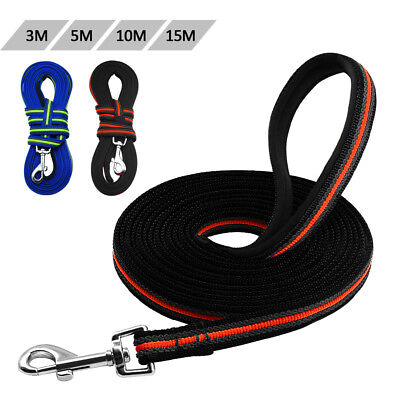Dog Tracking Leash Nylon Long Training Pet Lead Recall Padded Handle 3/5/10/15m