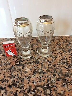 Small Pair Of Antique Etched Glass Vases Silver Rims