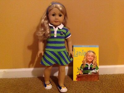 American Girl Lanie Doll And Book Complete Dress Headband Excellent Condition