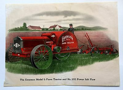 1917 Emerson Brantingham Model L Tractor / 102 Power Lift Plow Picture