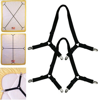 Adjustable Suspenders Crisscross Band Straps 2 Pcs Elastic Fasteners Clips Bed