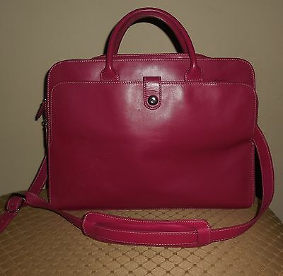 Lodis Pink Fuchsia Leather Laptop Organizer Briefcase Handbag BONUS Red Pouch