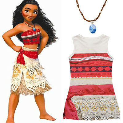 Girls Kids Moana Princess Costume Fancy Dress Necklace Cosplay Halloween Outfit