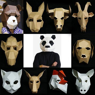 Novelty Party Paper Mask Animal Head Mask Costume Theater Prop Cover Cosplay DIY