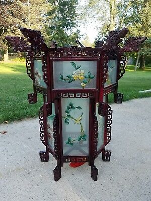 Vtg Chinese Japanese Dragon Hanging Lantern Chandelier Hand Painted Glass