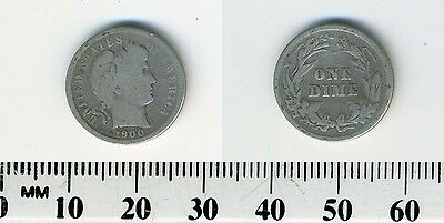 USA 1900  - 10 Cents - Barber Dime Silver Coin