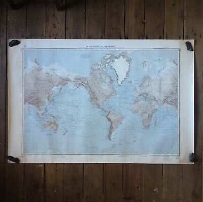 Genuine Large Double Sided Vintage Map The World Nautical 1966