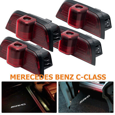 4x LED door step courtesy laser projector For Mercedes Benz C-Class W204 08-2013