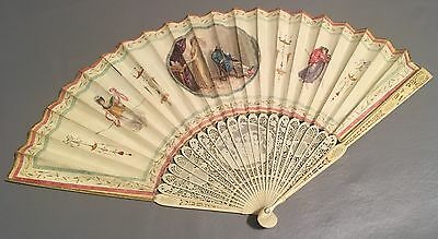 Folding Fan Antique French Figural Scene Carved Fan Hand Painted, With Case