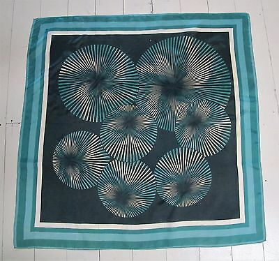 SCARF Green Genuine VINTAGE Optical swirls Spots Head Neck Square