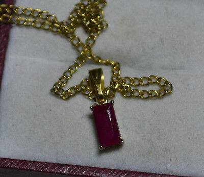 Vintage pendant, with chain, 14k gold, natural Ruby gemstone