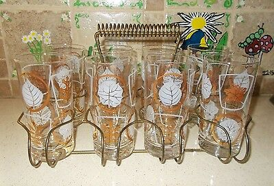 Vtg Set of (8) 12oz Gold & White Leaf Glasses w Goldtone Wire Caddy Holder MCM