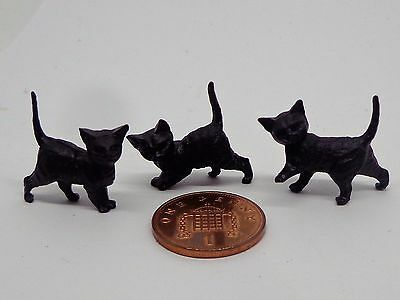 1:12th Scale Three Black Kittens Doll House Miniature.  Cats Pets Animals