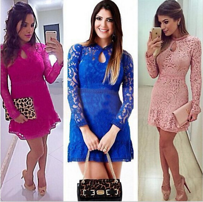 Womens Bodycon Cocktail Lace Dress Ladies Evening Party Dress UK  Size 8 - 14