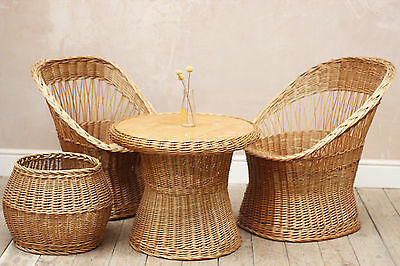 Vintage Retro Rustic Wicker Chair and table set (with Basket)