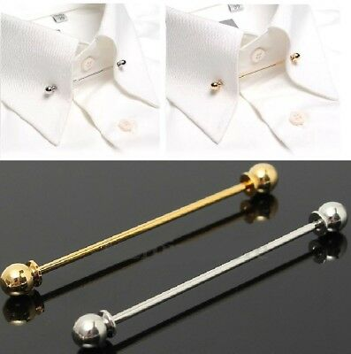 Mens Gold Collar Pin Necktie Shirt Clip Screw End Chrome Stainless Steel Tie Bar