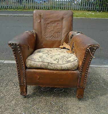 Small Vintage Leather Armchair For Reupholstery    Delivery Available