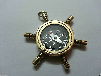 Brass Beautiful Collectable Nautical Wheel Compass Key Ring For Christmas Gift
