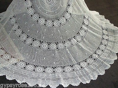 Vintage Round Crochet Tablecloth (White) Large T/B 76
