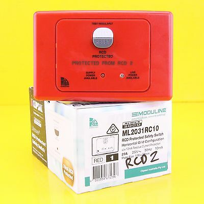 Clipsal ML2031RC10 RCD Protected Safety Switch 250V 20A 2P Horizontal - Red