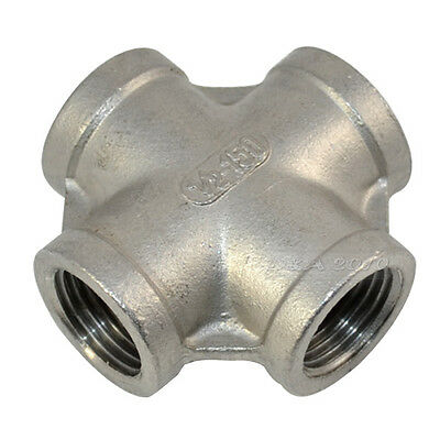 "1/2"" Thread 4 Way Female Cross Coupling Connector SS 304 Pipe Fitting BSPT"