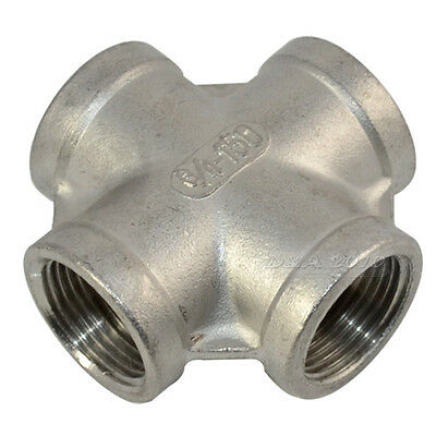 """3/4"""" Thread 4 Way Female Cross Coupling Connector SS 304 Pipe Fitting BSPT"""