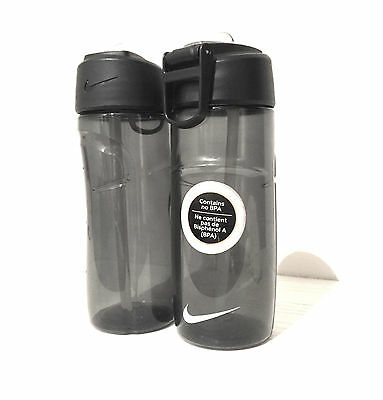 Nike T1 Flow Water Bottle Anthracite/Black 450ml BPA free x2
