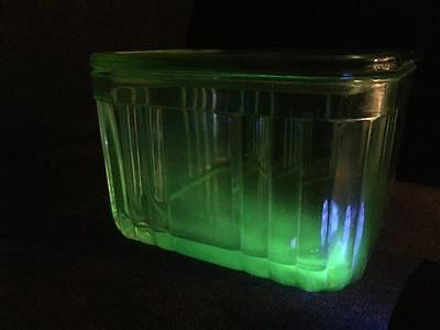 Uranium Glass Square Butter Dish With Lid