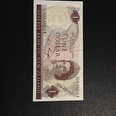 New Zealand Paper Banknote $1 Knight