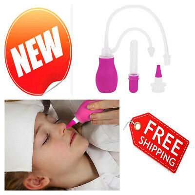 Baby Nasal Aspirator Infant Nose Suck Cleaner Safe BPA Free w/ Medicine Dropper