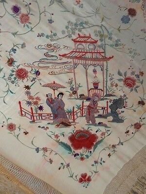 Antique Beautiful Chinese Hand Embroidered Silk Piano Shawl Multi Color Ps140