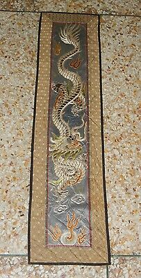 Antique Chinese Hand Embroidery Silk Wall Hanging Tapestry/Panel 86X21cm (X197)