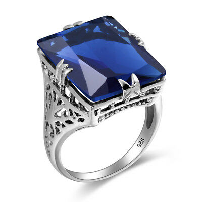 Vintage Indian Jewelry Tibetan Sapphire Crystal Ring 925 Sterling Silver Jewelry