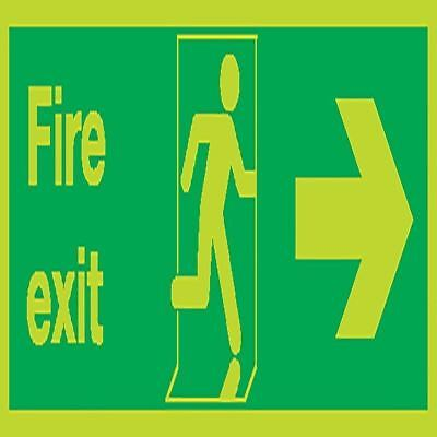 Safety Sign Niteglo Fire Exit Running Man Arrow Right 150x450mm  [SR71669]