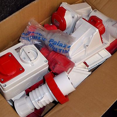 Joblot of 415V 5 pin and 4 pin plugs sockets red 16A 32A industrial 3 phase