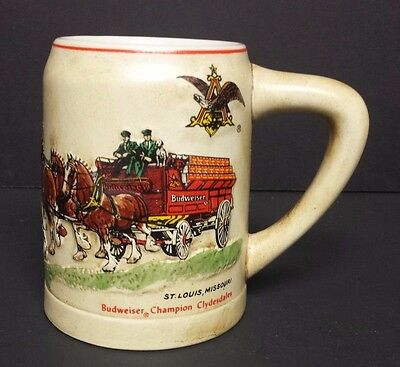 Budweiser 1980 Holiday stein with stenciled writing CS19