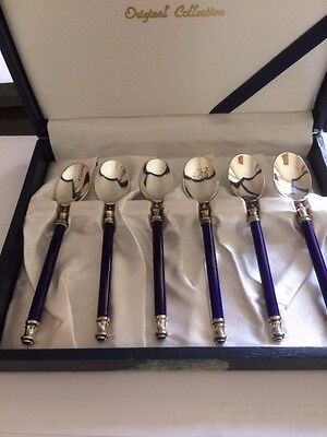 Highly Unusual Japanese Silver Plate And Cobalt Blue Demitasse Spoons