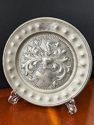 impressive 18th C Pewter Plate Dated 1786