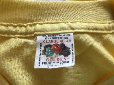 Vintage 60s 70s Thin Dead Stock Golden Fruit of the Loom Blank Yellow T-Shirt XL