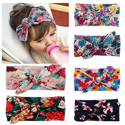 Baby Girls Print Floral Flowers Bow Knot Headband Turban Hair Band Head Wraps
