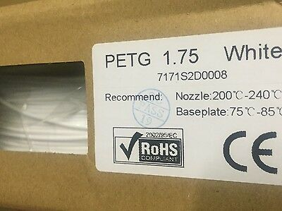 1kg White PETG Filament 3D Printer Filament AU Stock *NP3D*