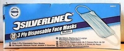 Silverline 986012 3-Ply Disposable Face Masks 50-Pack