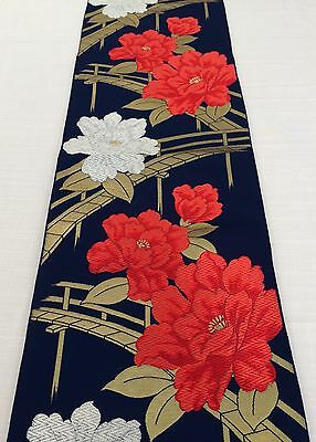 Authentic Japanese blue fukuro obi for kimono, Japan import, roses (G1620)