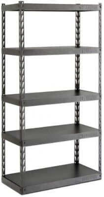 Garage Shelving Unit 5-Shelf Steel 36 in. Rack Heavy Duty Freestanding Black