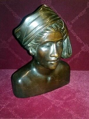Balinese Bali Wood Carving Woman Bust Indonesian Artisan Hand Carved Native